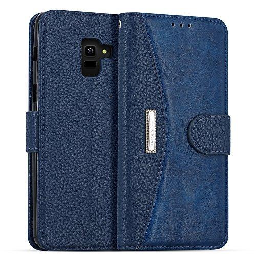 LOKAKA Leder Handyhülle für Samsung Galaxy A6 Plus 2018, Handyhülle Handystand Kartenf�