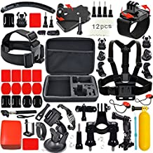 Leknes 52 in 1 Kit Accessori Bundle per GoPro Hero 5 4 3+ 3 2 1 SJCAM SJ4000 SJ5000 SJ6000 Lightdow/Xiaomi Yi/WiMiUS/DBPOWER /Action Camera APEMAN/Action Camera Campark, Grande Custodia antiurto + cinghia della cassa Strap Mount + manico allungabile+ Monopiede con Phone Holder + Floating maniglia Grip +Mount Belt Head + Car ventosa + superficiale fibbia a sgancio rapido +Anti-fog Insert