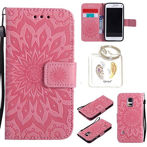 für Samsung Galaxy S5 Mini Geprägte Muster Handy PU Leder Silikon Schutzhülle Handy case Book Style Portemonnaie Design für Samsung GalaxyS5 Mini + Schlüsselanhänger(/*18) (8)