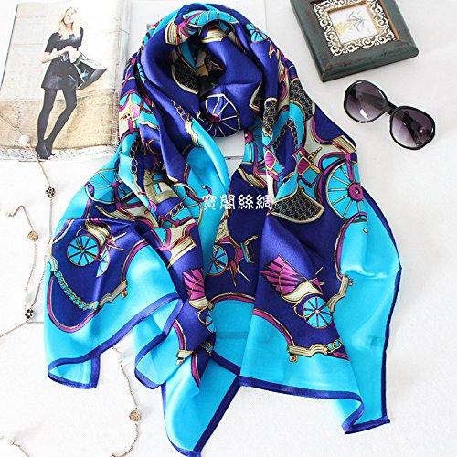 RENYZ.ZKHN Silk Scarf Silk Silk Scarf Travel Pumpkin Stamp Joe Qiduan Silk Scarf Scarf Shawl Scarves And 65*180Cm,Royal Blue