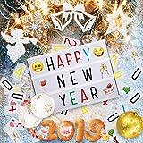 Jeteven Caja de Luz Tamaño A4 Lightbox LED con Letras Emoji y Números | USB o con Pilas | Cartas Cambiables del Lámparas Decoradas para la Navidad la Boda de la Fiesta de Cumpleaños (Blanco)