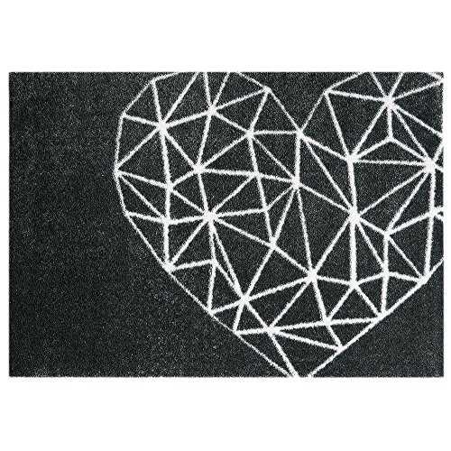 Mint Rugs 102866_50x70 Statement Mat Geometric Heart, Kunstfaser, schwarz/weiß, 70 x 50 x 0.7 cm