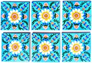 Shiv Kripa Blue Pottery Ceramic Handmade Tiles (Multicolour, 4 x 4-inch) - Pack of 6