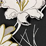 Kobe Polsterstoff Möbelstoff Bezugstoff Meterware gewebte Struktur Stoff Vintage Design Blumen Reto Look, Breite ca. 1,50m - Farbe Black 99