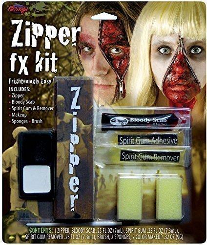 erwolf Tot Zombie Halloween Spezialeffekte Blutig Reißverschluss Gesichtsfarbe Make-up Satz - Zombie (Zähne Make Up Halloween)