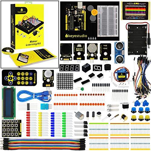 KEYESTUDIO Eléctrica Starter Kit con Guías Tutorial y Conjunto de R3 con LCD Servo Motor de Joystick Receptor de Infrarrojos Ultrasónico, Modulo de Fuente de Alimentación para Arduino R3 Kit