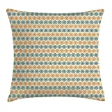 VVIANS Floral Throw Pillow Cushion Cover, Several Mixed Flower Petals Pattern with Abstract Effect Nature Beauty Image, Decorative Square Accent Pillow Case, 18 X 18 inches, Teal Cream Apricot