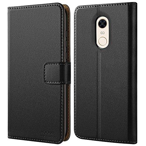 HOOMIL Xiaomi Redmi 5 Plus Hülle Leder Flip Case Handyhülle für Xiaomi Redmi 5 Plus Tasche Brieftasche Schutzhülle - Schwarz (H3273)