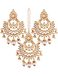 I Jewels Gold Plated Kundan & Pearl Earring Set With Maang Tikka For Women (TE2498W)