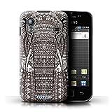 Kobalt Elefante Nero Bianco stampato Custodia Cover per Samsung Galaxy Ace cellulari telefoni / Collezione Aztec Animal Design