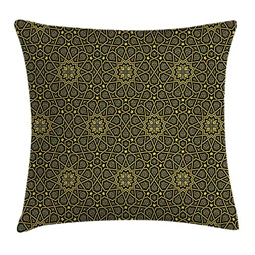 row Pillow Cushion Cover, Middle Eastern Style Ornamental Geometrical Shapes Moroccan Artful Image Print, Decorative Square Accent Pillow Case, 18 X 18 Inches, Yellow Black ()