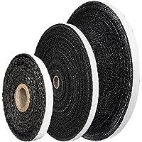 STEIGNER Banda de Fibra de Vidrio de Chimenea SKD03, 5 m, 15x3mm, Negro sellador resiste al calor hasta 550°C