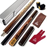 CUESOUL 57 Handcraft 3/4 Jointed Snooker Cue with Mini Butt End Extension Packed in Aluminium Cue Case