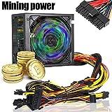 Espeedy Fuente de alimentación,1200W 170-240V ATX Gold Mining Fuente de alimentación SATA IDE 4 GPU para ETH Ethereum