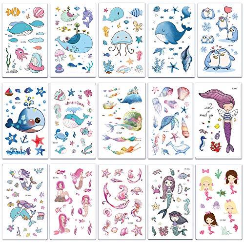 attoos, Tier Sticker Tattoos, Klebe-Tattoos Für Kinder Mädchen Jungen Aufkleber Sticker für Kindergeburtstag Mitgebsel Gastgeschenke Party Spielzeug (Unterwasserwelt) ()