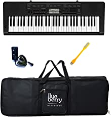 Casio & Blueberry Bag and Adapter Along with USB LED and Casio CTK-3500 Digital Keyboard (Black)