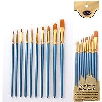 MUPACK 10 Pièces Pinceaux Peinture Acrylique - Pinceau de Peinture à l'huile pour Aquarelle, Peinture Gouache, Nylon…