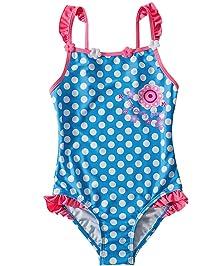 75dfe8933ca5 Taigood Mädchen Badeanzug Blumen Bademode Punkt Drucken Einteiler Swimsuit  Badeanzüge für Kinder Pink Blau