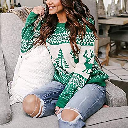 Jerséy de BaZhaHei, O-Cuello Árbol de Navidad Tejer suéter Tops de Mujer suéter de Navidad Manga Larga Color Costura Dobladillo Real Transpirable y Comodo Blusa de Mujer diseño único Blusa de Mujer