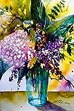 Artland Qualitätsbilder I Wandbilder Selbstklebende Wandfolie 20 x 30 cm Botanik Blumen Hortensie Malerei Pink Rosa D6ZG Strauß mit Hortensie