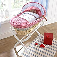 Izziwotnot Hide Away Bay Wicker Moses Basket, Natural, Red Dressing
