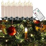 WYBAN Kabellos Fernbedienung 30er Warmweiß LED Weihnachtskerzen Lichterkette LED Kerzenlamp (30)