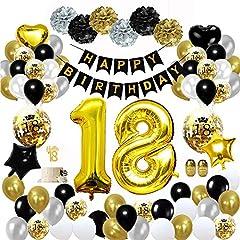 Idea Regalo - MMTX 18 Decorazioni per Feste di Buon Compleanno in Oro Nero, Palloncini per 18 Compleanno, Pom Pom di Carta, Palloncini in Lamina d'oro per Uomini e Donne, Decorazioni per Feste per Adulti