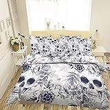 3D schwarz-graue Totenkopf-325 Bettwäsche-Set für Einzelbett, Queen, King-Size, 3D-Foto-Bettwäsche, AJ Wallaper, UK 7, schwarz