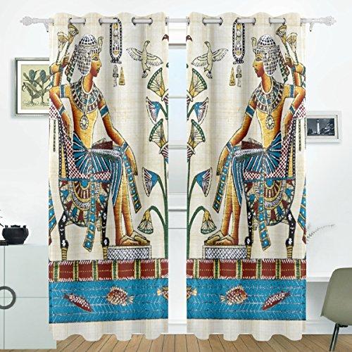 JSTEL Vintage Ägypten Art Vorhänge Panels Verdunklung Blackout Tülle Raumteiler für Terrasse Fenster Glas-Schiebetür Tür 139,7x 213,4cm, Set von 2 - Art-glas-panel