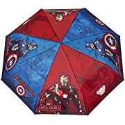 Ombrello bambino Perletti con stampa Captain America - Civil War - Pieghevole bambino leggero e compatto - Antivento e automatico - Diametro 89 cm