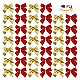 HusDow Red Christmas Ribbon Bows for Christmas Decorations