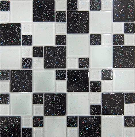 Glas Mosaik Fliesen Matte Schwarz und Weiß Steine in Zwei Größen mit Glitzer (MT0047)