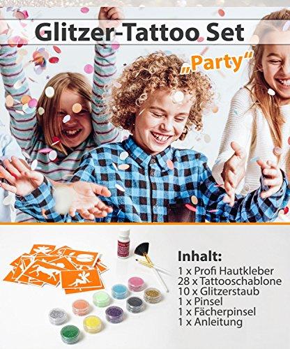 Glitzer Tattoo SET PARTY mit Profikleber, 2x Pinsel, 10x Glitzer, 28x Tattooschablone -