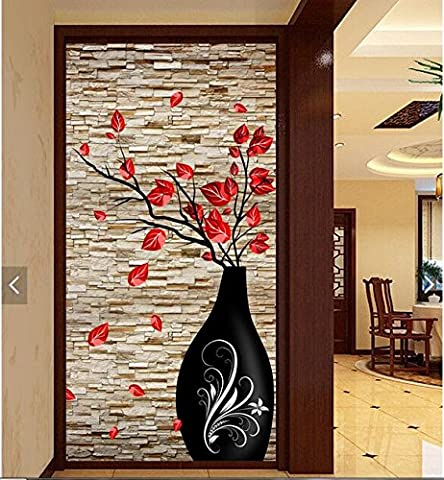 LWCX 3D Wallpaper Custom Photo Silk cloth Picture 3d Brick Wall Flower Vase Porch Painting 3D Wall Room Murals