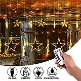 LED Lichtervorhang mit Fernbedienung, mimoday 12 Sterne 138 LED Lichterkette Vorhang Warmweiß mit 8 Modi für Innen Außen Fenster Balkon Geburtstag Party Hochzeit Weihnachts Deko