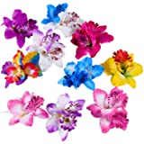 Hustar 10 Pcs Hawaiian Beach Flower Hair Pins Orchid Hair Clip Tropical Fancy Dress Accessory for Women Girls