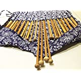 "18 pares /36 unidades de 40cm agujas de ganchillo de punta única de bambú carbonizado con pátina 34cm/14"" con estuche (kit 2mm a 12mm) - ganchillo [version:x5.4] by DELIAWINTERFEL"