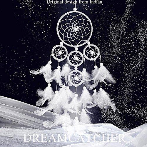 ZHUOTOP Blanc Dreamcatcher Wind Chimes Style indien Perle Pendentif en forme de plume Cadeau