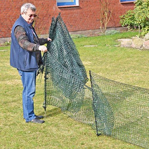 Gartennetz Universal Begrenzungszaun VOSS.farming farmNET 20 m Premium, 80 cm, 12 Pfähle, dunkelgrün, Hundezaun, Welpenzaun, Beetschutz - 3