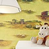NEWROOM Kindertapete Grün Papiertapete Bunt Kinder Landwirtschaft schöne moderne und edle Optik für Babys, Jungs oder Mädchen, inklusive Tapezier Ratgeber Kindertapete Grün Landwirtschaft Feld Kinder