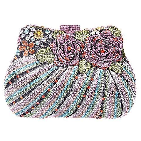 Bonjanvye Multicoloured Studded Diamond and Rhinestone Rose Print Bouquet Clutch Handbag Multicolor