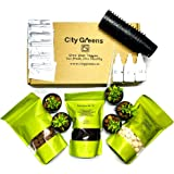 City Greens Seed Starter Kit for 15 Plants (Seeds, Cocopeat, Clay Pebbles, Net Pots, Instruction Set, Nutrient Enriched, Neem