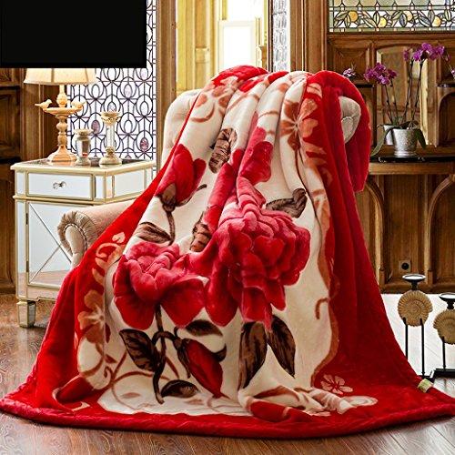 Kuscheldecken HMLIFE Winter warme Decke rot Decke Schlafzimmer Bett Decke Pflanze Blumenmuster Büro Nap Decke Wohnzimmer mit Sofa Decke weich und komfortabel (größe : 200 * 230cm) (Blumen-bett-decke)