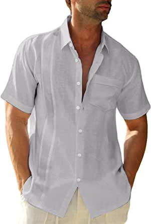 LVCBL Men's Casual Shirt with Button Everyday Clothing Light Gray L