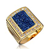 Men Round Cut Blue Sapphire Clay Square Shape Cocktail Band Ring Size US 6 7 8 9
