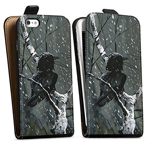 Apple iPhone X Silikon Hülle Case Schutzhülle Rabe Wald Vogel Downflip Tasche schwarz
