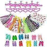 ASIV 12 x vestido, 12 Paris de zapatos, 12 x perchas accesorios para la ropa de muñecas Barbie (36 piezas)