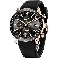 By Benyar elegante orologio uomo analogico al quarzo impermeabile cinturino in gomma inox, cronografo Sportivo orologio…