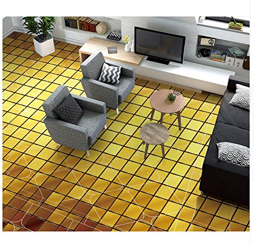 3D Bodenbelag Goldene Farbe 3D Karierten Boden Wasserdichte Tapete Für Badezimmer Wand 3D Boden Malerei Tapete 400x280cm