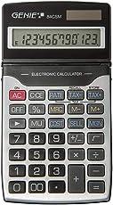 Genie 84 CSM 12-stelliger Business-Taschenrechner, Dual-Power (Solar und Batterie), inkl. Schutzdeckel, schwarz/silber